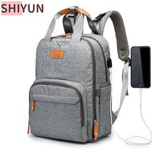 SHIYUN duża pojemność torba na pieluchy plecak wodoodporne torby na pieluchy dla niemowląt z interfejsem USB mumia torba podróżna wózek SZ2 tanie tanio CN (pochodzenie) Poliester zipper (30 cm Max Długość 50 cm) 32cm 42cm 18cm Stałe