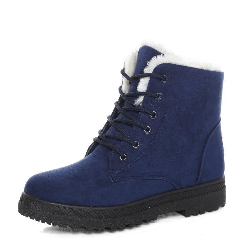 Promo Women's Boots Winter Snow Boots Ladies New Warm Fur Cotton Shoes Ladies Martin Boots Suede Leather Flat Shoes Plus Size 2020