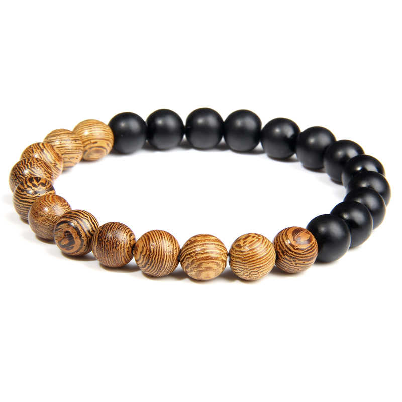 New Natural Wood Bead Bracelet Men Black ethnic White stone charm Bracelets Bangles For Women Prayer Jewelry Yoga Pulseras