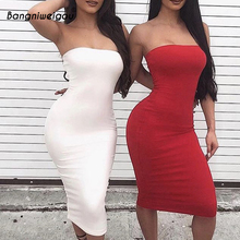 Bangniweigou סקסי כבוי כתף צינור שמלת קיץ נשים שחור לבן בסיסי Bodycon קיצי סטרפלס נמתח תחבושת Robe Femme