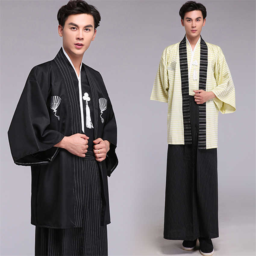 Samurai Traditional Japanese Kimono Clothing for Men Embroidery Long Sleeve Stage Performance Retro Asian Coat Ancient Costume