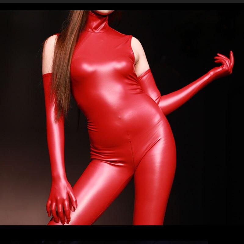 Plus Size Sleeveless Turtleneck Latex Catsuit Bodycon Jumpsuit Zipper Open Crotch Bodysuit Body Shaper Playsuit Unitard Cosplay