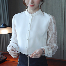 New 2019 Spring Women Chiffon Blouse Long Sleeve Lace Shirt Hollow Out Blouses Tops Summer Sexy Slim Blusa white Feminina 660E lace blouse women turtleneck long sleeve flare sleeve black shirt lady street wear sexy perspective blouses blusa white tops