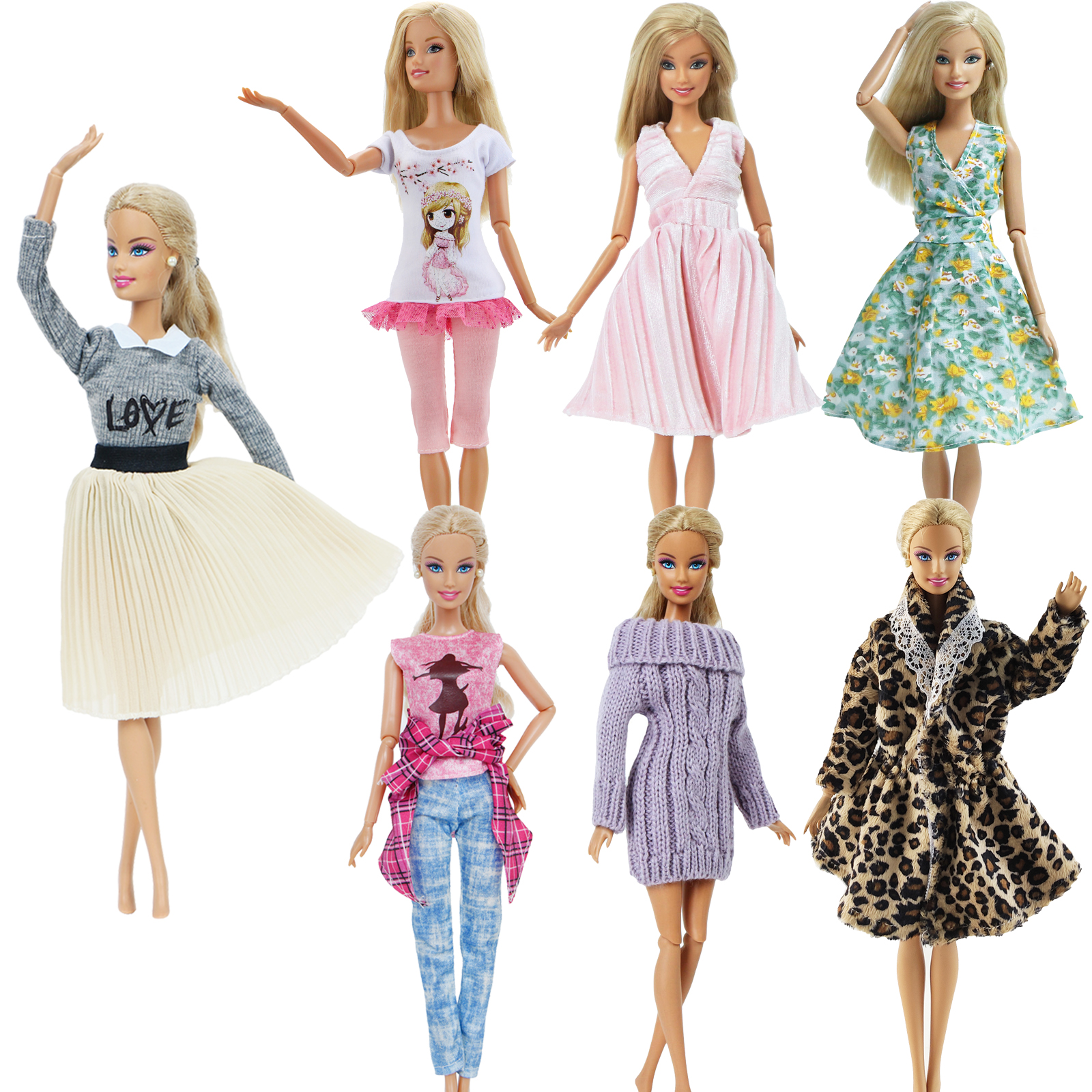 1 PCS Handmade Fashion Outfit Short Dress Cartoon Cute Pattern T shirt Leggings Trousers Accessories Clothes for Barbie Doll Toy|clothes for barbie|clothes for barbie dolls|for barbie - title=