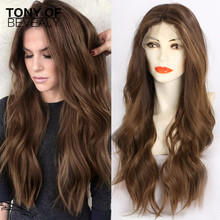 Long Silky Body Wave Lace Wigs Ombre Brown Lace