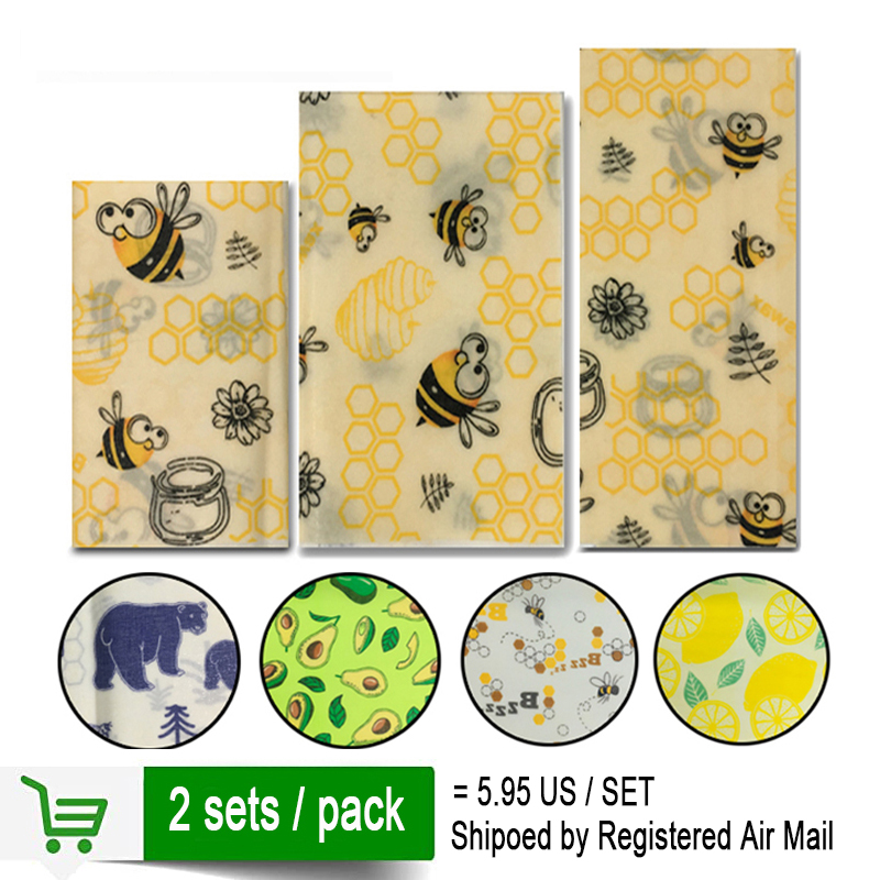 2 Sets/pack Reusable Beeswax Cloth Wrap Food Fresh Bag Lid Cover Stretch Lid Jungle Party Bees Wax Wrap Plastic Wrap