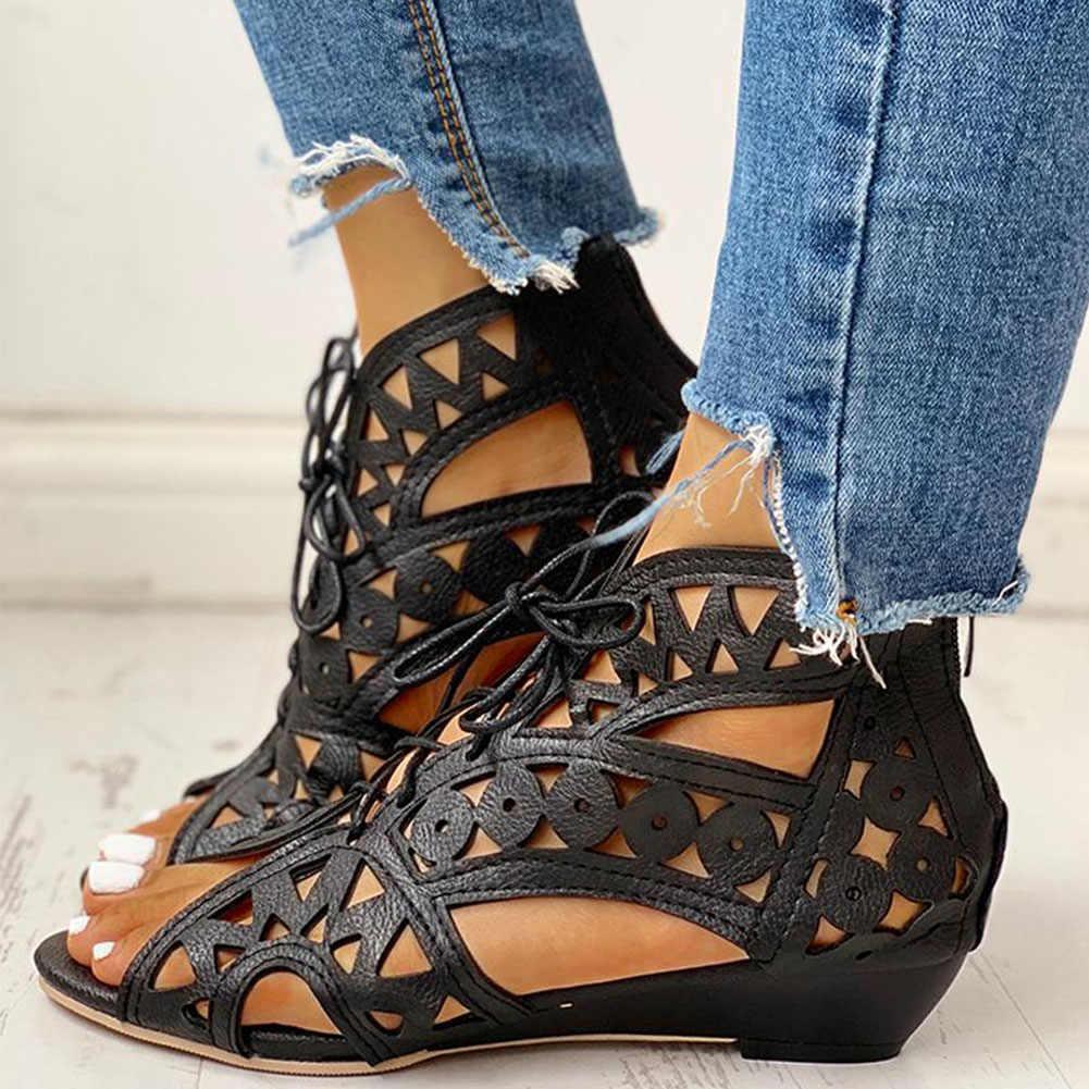 Karinluna 2020 en düşük fiyat büyük boy 43 ayakabı gladyatör yaz çizme sandalet kadın eğlence rahat kadın ayakkabı