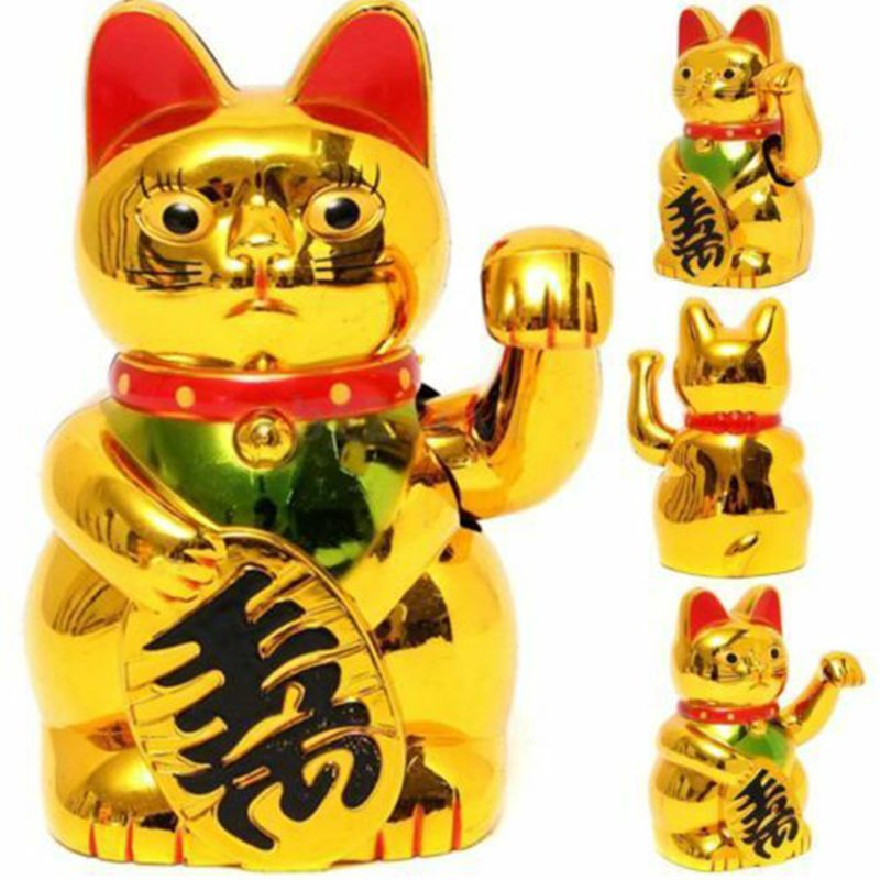 Gold Maneki Neko Cute Lucky Cat Electric Craft Art Home Shop Hotel