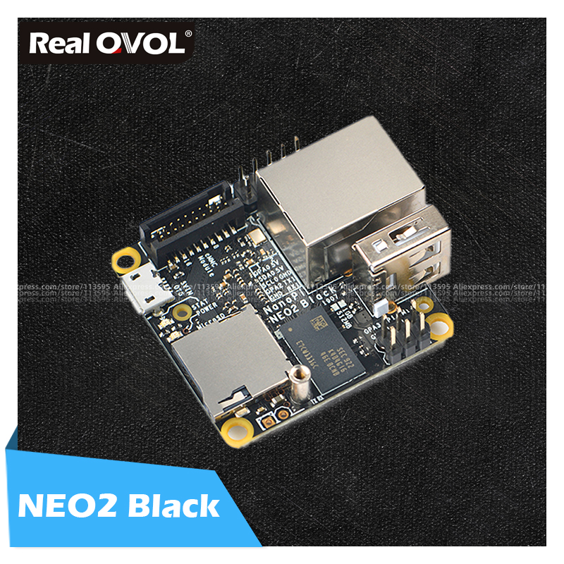 FriendlyELEC NanoPi NEO2 Black Lts 1GB  Board A53 Mini Linux Board RealQvol  Emmc TF Card Support Faster Than Raspberry PI