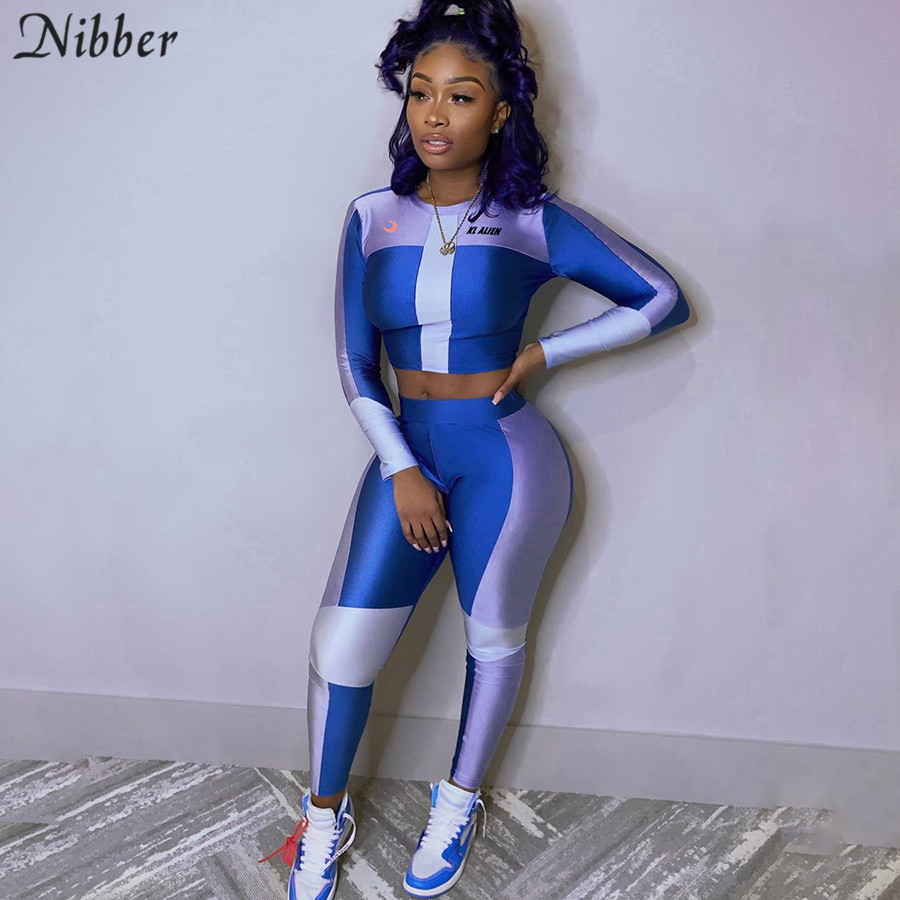 Nibber Spring Fashion Elastic Slim Print Crop Tops Leggings Sets Women 2020Fitness Casual Sportswear Tee Shirt 2two-piece Suits