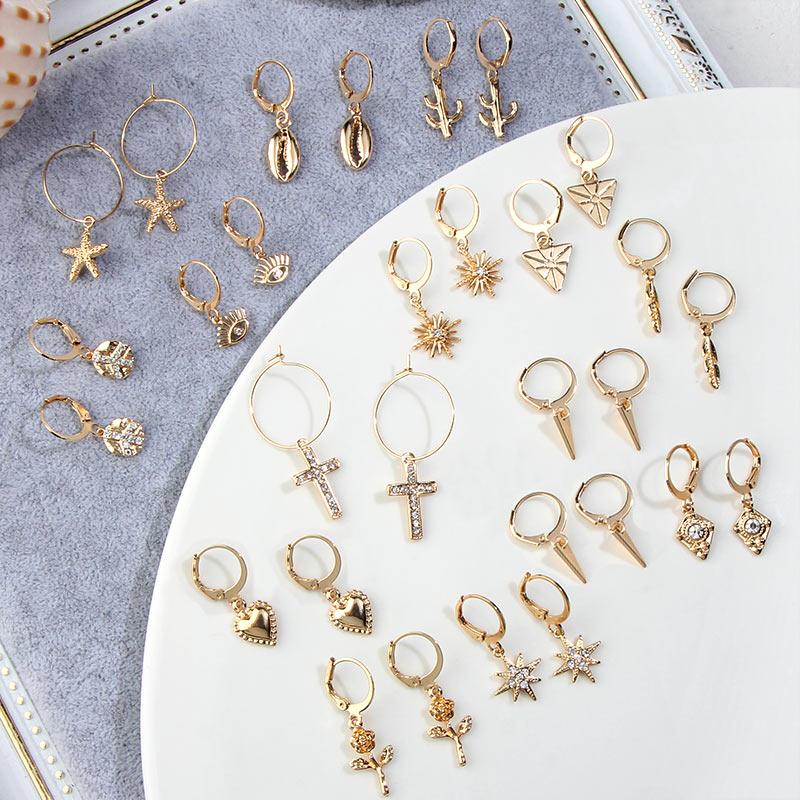 JUST FEEL New Tiny Hoop Earrings For Women Girl Gold Cartilage Hoop Earrings Jewelry Heart Cross Star Triangle Charm Earrings