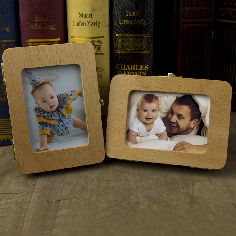 Wooden Children's Primary Teeth Storage Box Baby's Hair Collection Box Clock Camera Frame Three Options