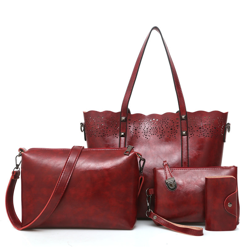 DAHOOD New Women Handbags High Quality Vintage Oli PU Leather Shoulder Bags Fashion Hollow Out Female Bag 4PCS Set