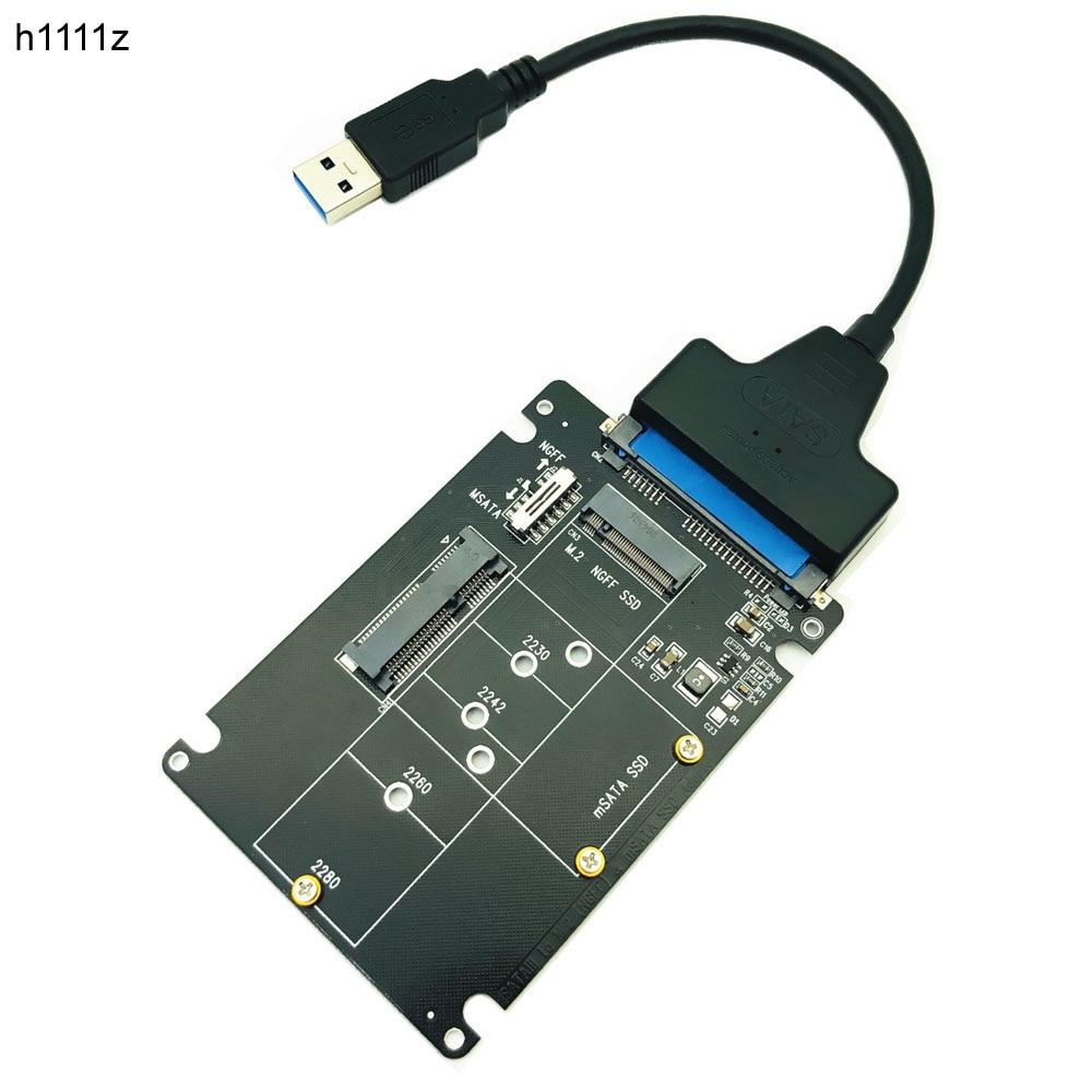 mSATA to SATA Adapter B Key m.2 SATA SSD to SATA Adapter Card mSATA m.2 NGFF to USB Converter for mSATA+M.2 2 in 1 SSD HDD Riser