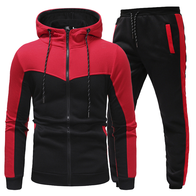 New Fashion Men Set Zipper Hoodies+Pants Sets Male  2