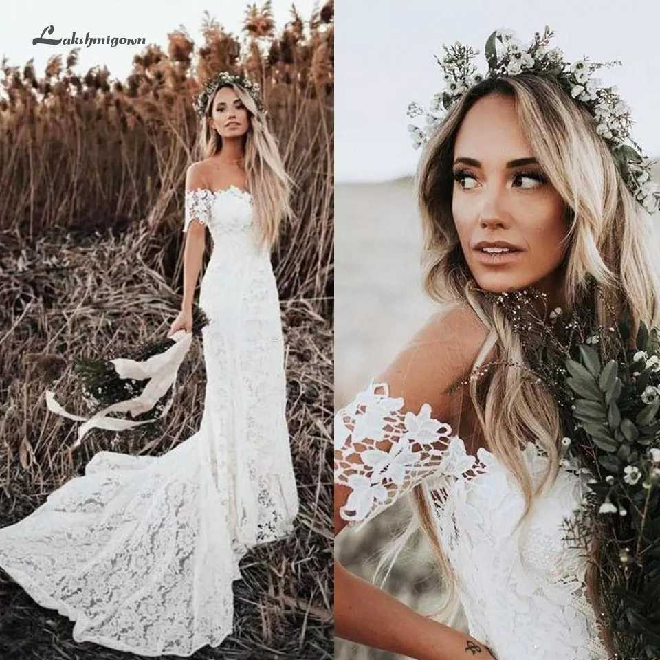 Lakshmigown Boho Lace Wedding Dresses 2019 Country Style Off