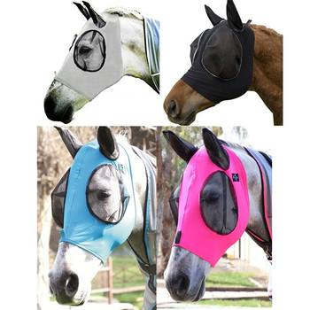 Anti Mosquito Horse Mask Flying Breathable Comfort Equestrian Supplies Removable Mesh UV Sun Protective