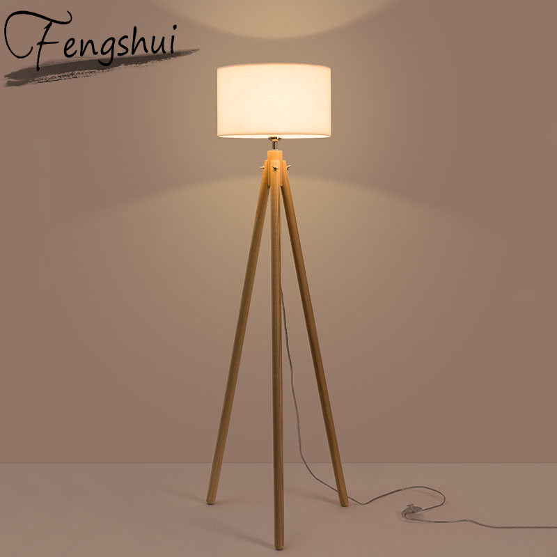 Nordic Wood Fabric Led Floor Lamps For