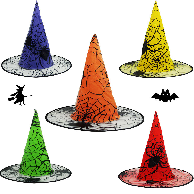 Witch Hats Masquerade Ribbon Wizard Hat Adult Kids Cosplay Costume Accessories Halloween Party Fancy Dress Decor