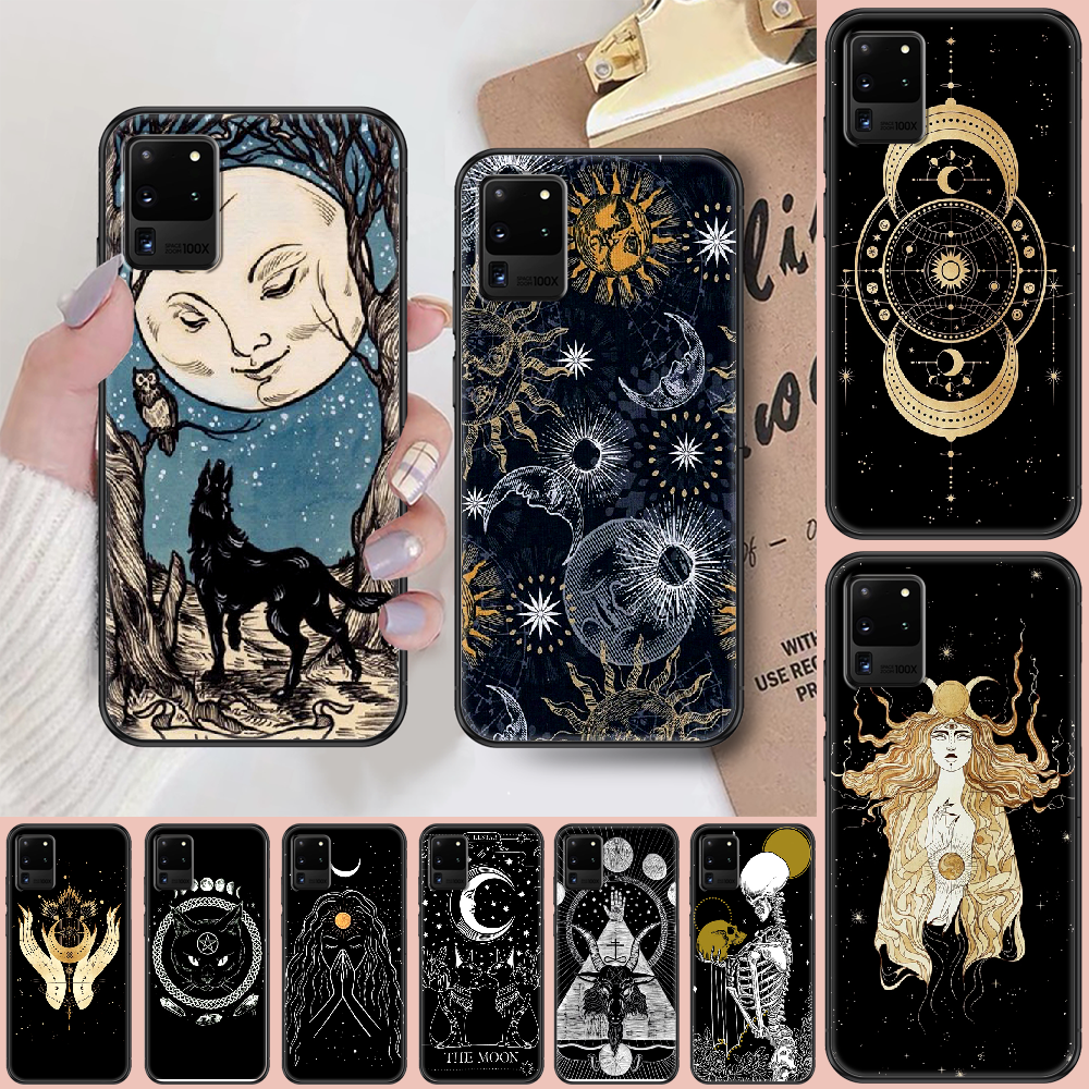 Witches moon Tarot Mystery totem Phone case For Samsung Galaxy Note 4 8 9 10 20 S8 S9 S10 S10E S20 Plus UITRA Ultra black art