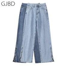 Women's Jeans Trouser Vintage Denim Long-Pants Zipper High-Waist Straight Summer Design