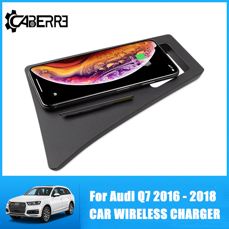 Special Wireless Car Charger For Audi Q7 2016 2017 2018 Intelligent Infrared Fast Wireless Charging Car For IPhone For Samsung