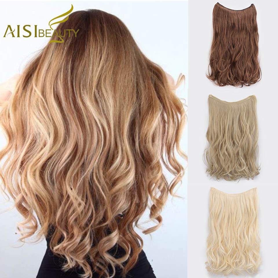 AISI BEAUTY Long Synthetic Hair Extension Straight Secret Fish Line Invisible Wire No Clips Nature Black Blonde 613 Color