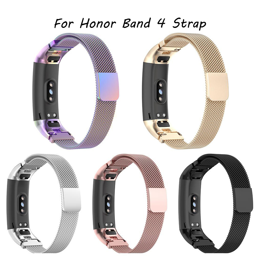 For Honor Band 4 Strap Original Magnetic Milanese Stainless Steel Watch Band Strap For Huawei Honor Band4 5 Strap Smart Bracelet