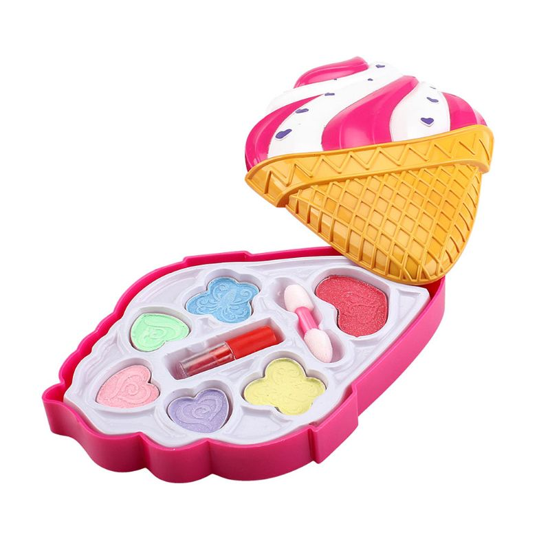 Safety Tested Non Toxic Kids Washable Makeup Kit Fashion Water-Soluble Cosmetics Toys Set With Ice-Cream Box For Petite Girls