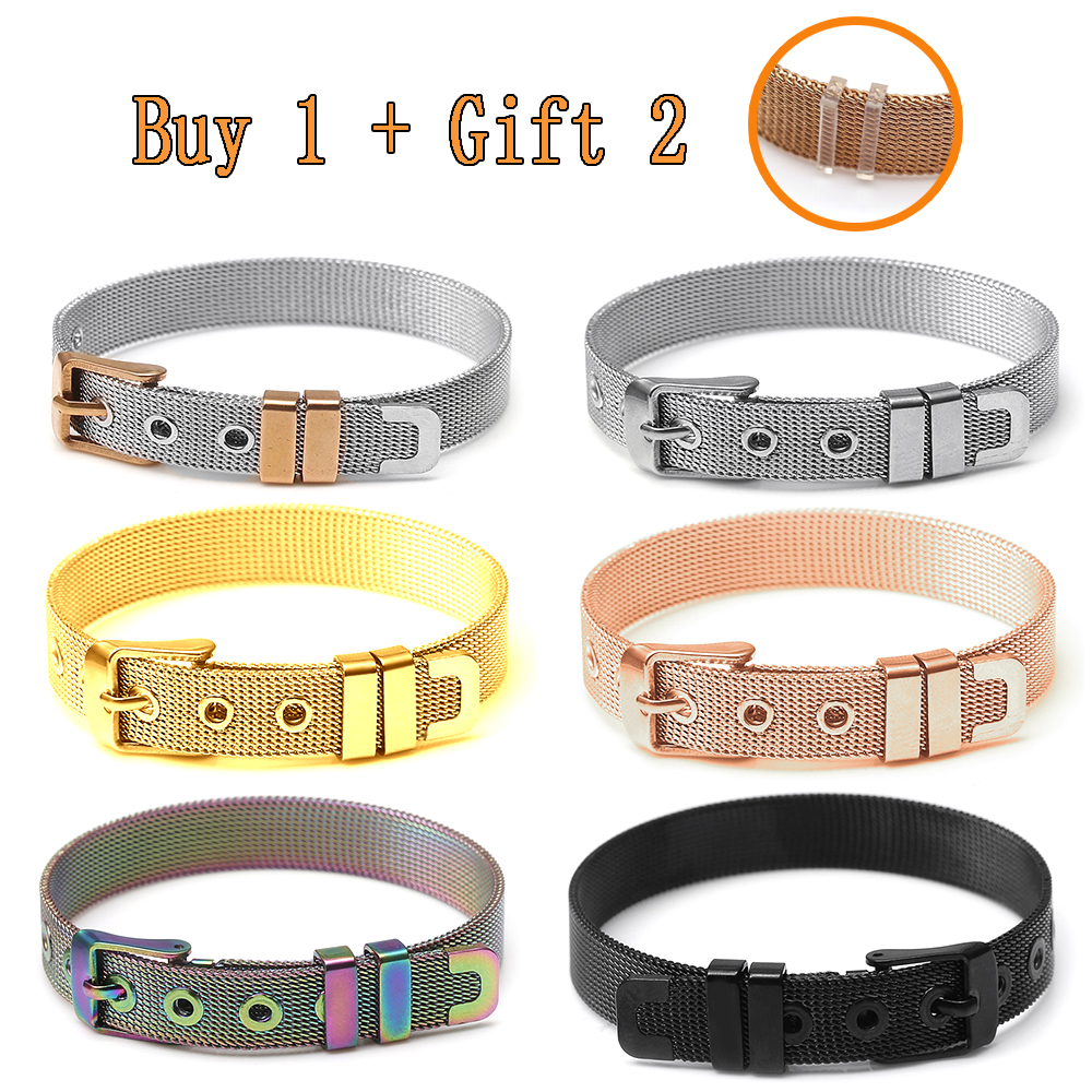 10mm Stainless Steel Mesh Watch Belt Bracelets For Women Men Fit Original Golden Rose Gold Black Colorful Mesh Bracelet Bangle