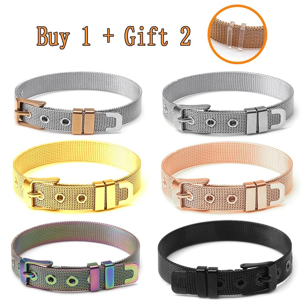 10mm Stainless Steel Mesh Watch Belt Bracelets For Women Men Fit Original Golden Rose Gold Black Colorful Mesh Bracelet Bangle(China)