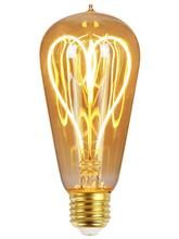 ST64 110V/220V LED Edison Light Bulb Dimmable Heart Shape Soft Light Filament Antique Style Vintage Light Bulb
