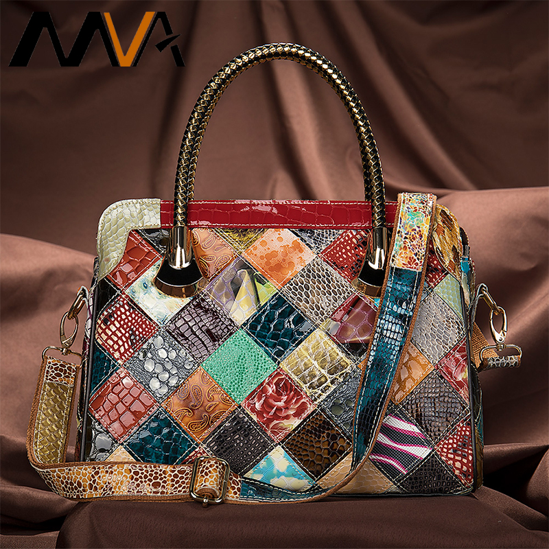 MVA Genuine Leather Bag Women's Handbags Femael Casula Tote Patchwork Shoulder Bags Women Luxury Handbags Women Bags Designer