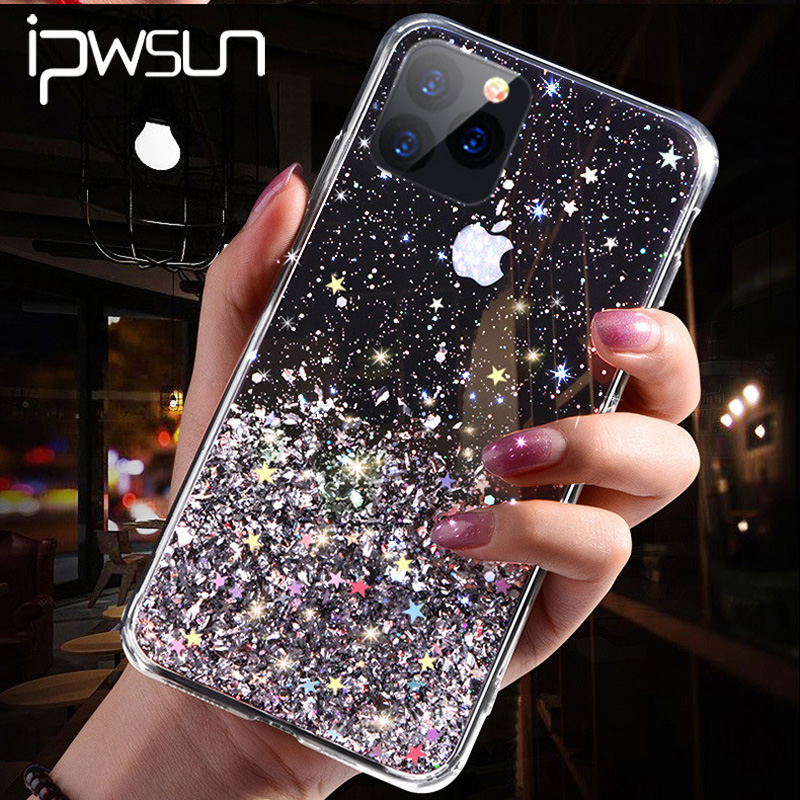 IPWSOO Glitter Foil Powder Case For IPhone 11 Pro XS Max XR X Bling Phone Case For IPhone 11 8 7 6 6s Plus Soft TPU Clear Cover