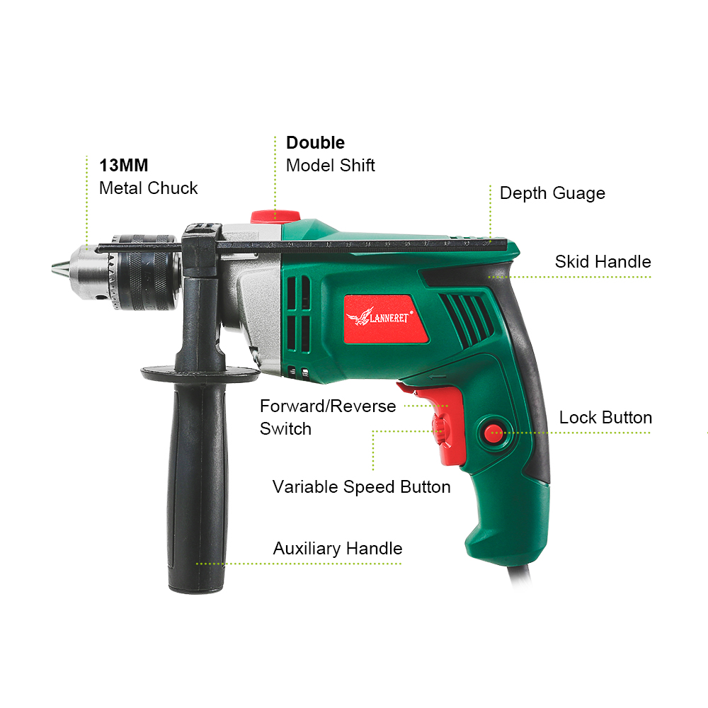Tools : LANNERET 710W Electric Drill Impact Dril lHammer Drill Multi-function Adjustable Speed Woodworking AC Power Tools