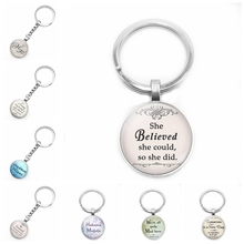 2020 New Friendship Jewelry Text Keychain Glass Convex Round Personality Pendant Keychain Gift key chain hot fashion personality long chain sports series football basketball time glass cabochon keychain jewelry pendant small gift