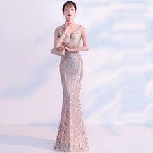 Вечернее платье цвета шампанского, с блестками, с v-образным вырезом, без рукавов, на молнии, вечерние платья TR042, длина до пола, Robe De Soiree