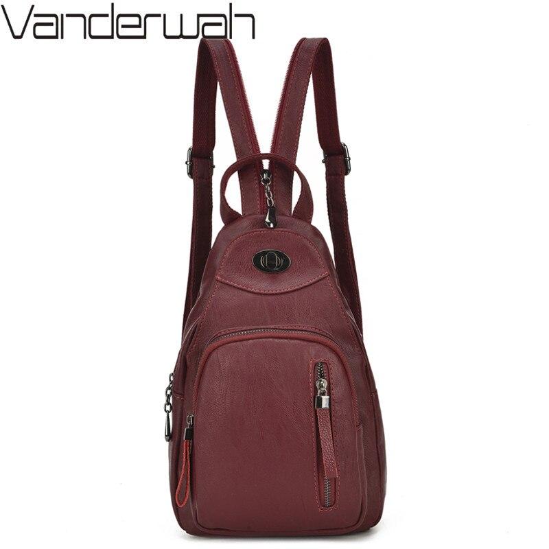 Women Backpacks Leather Shoudler Bags For Teenage Girls Daily Backpacks Multifunction Chest Bag Travel Bagpack Mochila Feminina
