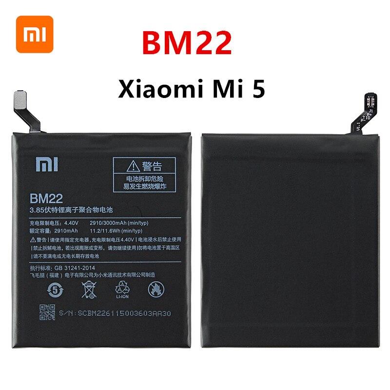 Xiao Mi 100% Orginal BM22 3000mAh Battery For Xiaomi Mi 5 Mi5 M5 BM22 High Quality Phone Replacement Batteries