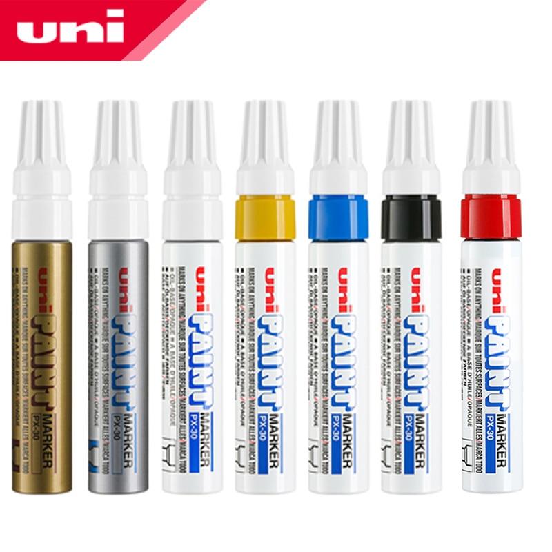 7pcs Japan UNI PX-30 Paint Pen Thick Word Wide Touch Up Pen Notes Industrial Pen Oblique Head Thick Oily Pen Permanent Marker