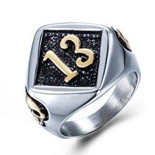 Jóias masculinas punk hip hop anel modelo lucky número 13 anel