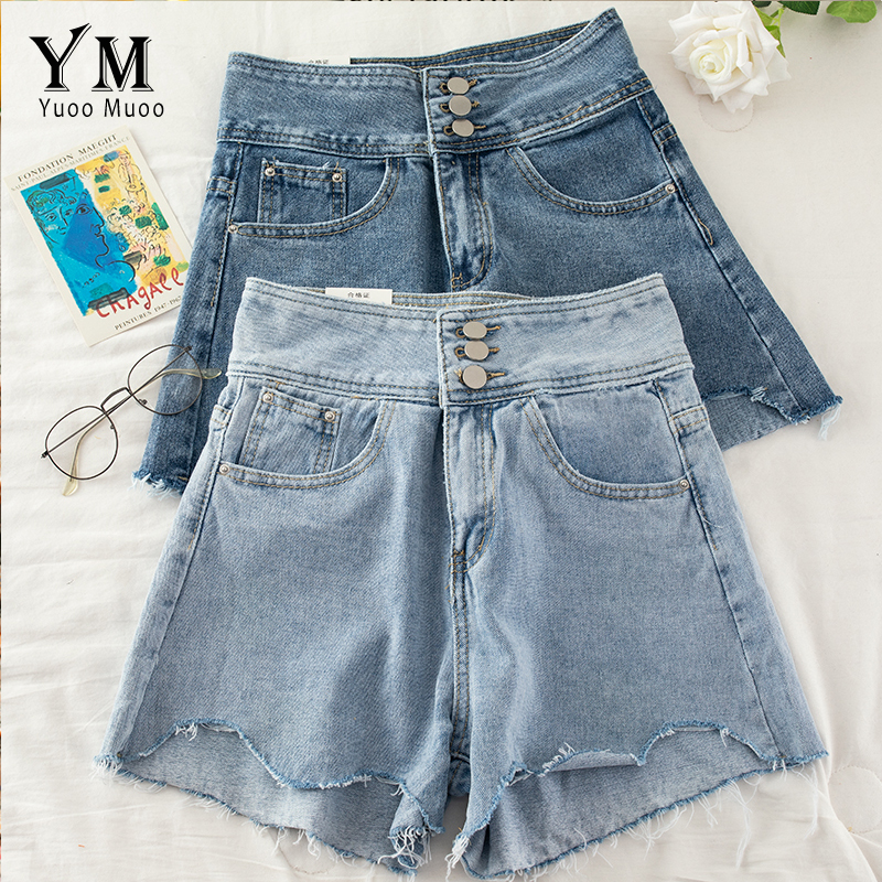 YuooMuoo Ins Fashion Soft  Jeans Shorts For Women 2020 High Waist Buttons Design Denim Shorts Hot Korean Irregular Tassel Shorts