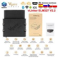 Vgate vlinker mc + elm327 v2.2 bluetooth 4.0 wifi elm 327 para android/ios obd 2 obd2 carro ferramenta de diagnóstico automático pk obdlink elm329
