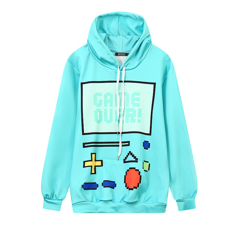 Autumn New Style 3D Game Console Printed Hooded Loose-Fit-Style Couple Clothes WOMEN'S Sweater Wy1049