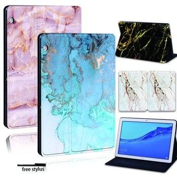 Перейти на Алиэкспресс и купить Для Huawei MediaPad T3 8 10 /T5 10 кожаная смарт-подставка для планшета Folio Cover-ультратонкий мраморный чехол для планшета Honor Play Pad