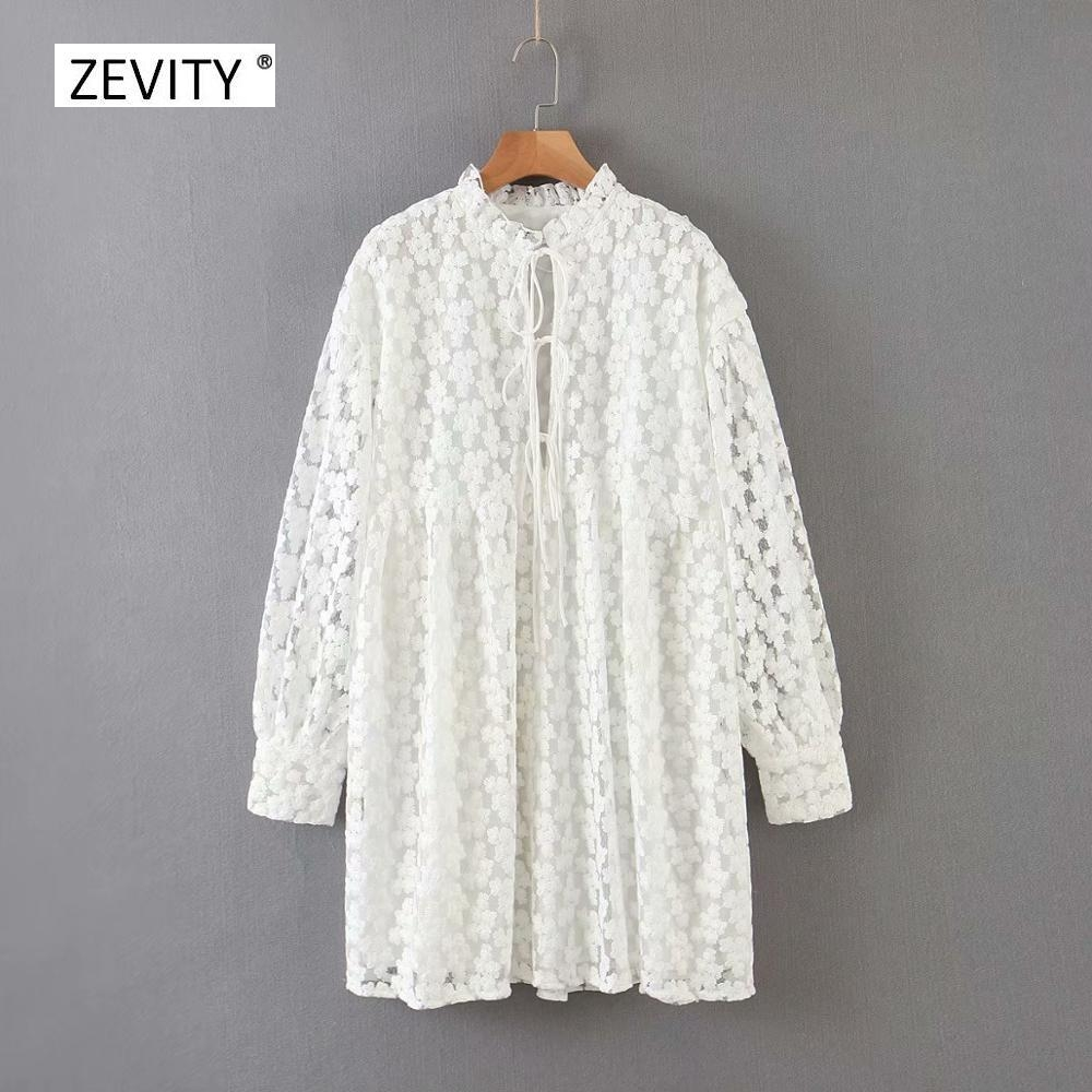 2020 women elegant stand collar embroidery white casual dress female three quarter sleeve bow tied vestido chic dresses DS3920
