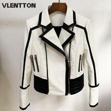 Мотоциклетная куртка из искусственной кожи черная приталенная