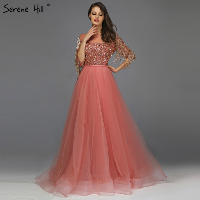 Rose Gold O-Neck Sequined Evening Dresses 2019 A-Line Latest Design Sexy Sparkle Evening Gowns Serene Hill LA60976