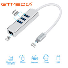 GTMEDIA – adaptateur Ethernet USB 3.1 c/m vers 3USB3.0 + RJ45 Hub 10/100/1000M, pour MacBook XIAOMI Samsung Windows Huawei