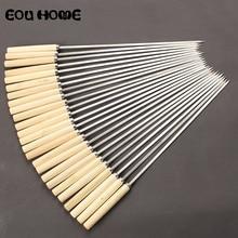 Полезные инструменты для барбекю из нержавеющей стали, плоская палочка для жарки и барбекю, игла с деревянной ручкой, шампуры для кемпинга, вилки для барбекю